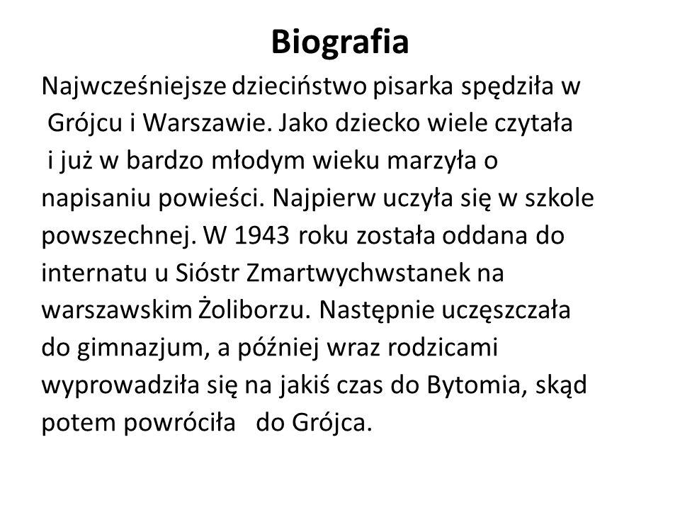Biografia Najwcześniejsze dzieciństwo pisarka spędziła w Grójcu i Warszawie. Jako dziecko wiele czytała i już w bardzo młodym wieku marzyła o napisani