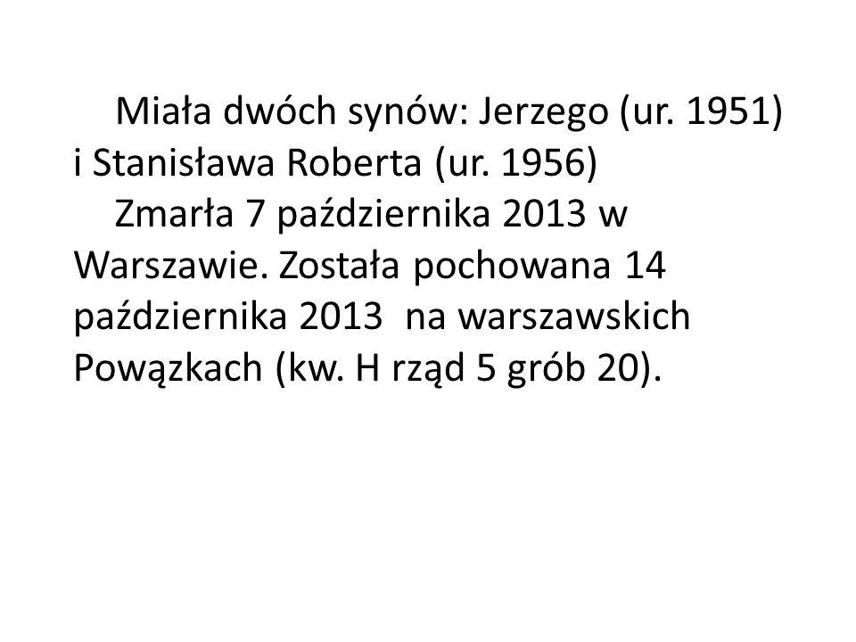 Miała dwóch synów: Jerzego (ur. 1951) i Stanisława Roberta (ur. 1956) Zmarła 7 października 2013 w Warszawie. Została pochowana 14 października 2013 n