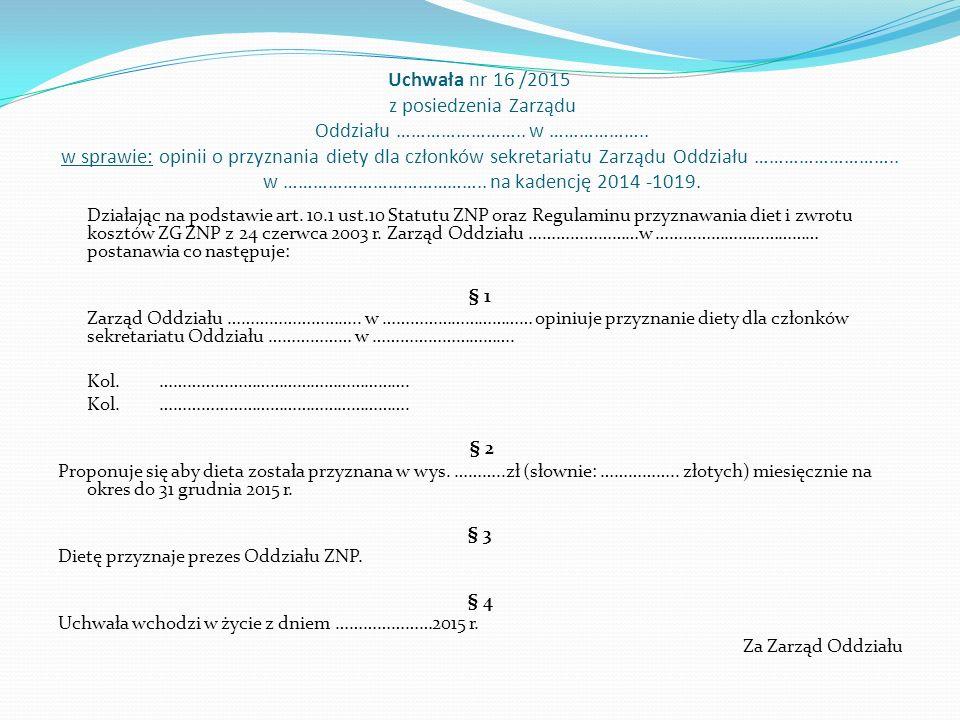 Uchwała nr 16 /2015 z posiedzenia Zarządu Oddziału ……………………..