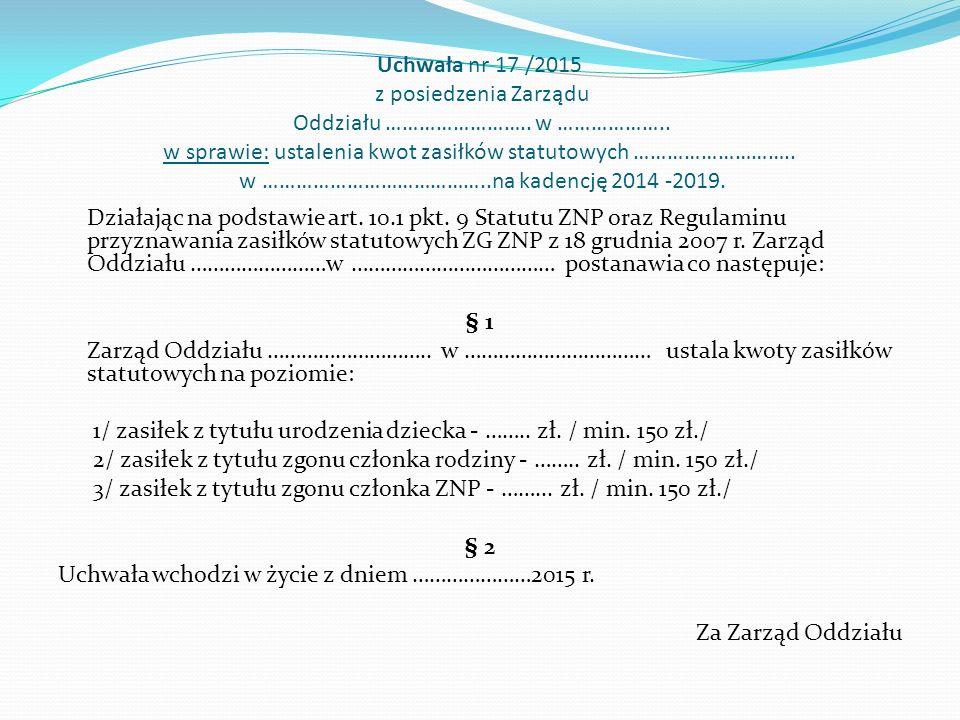 Uchwała nr 17 /2015 z posiedzenia Zarządu Oddziału ……………………..