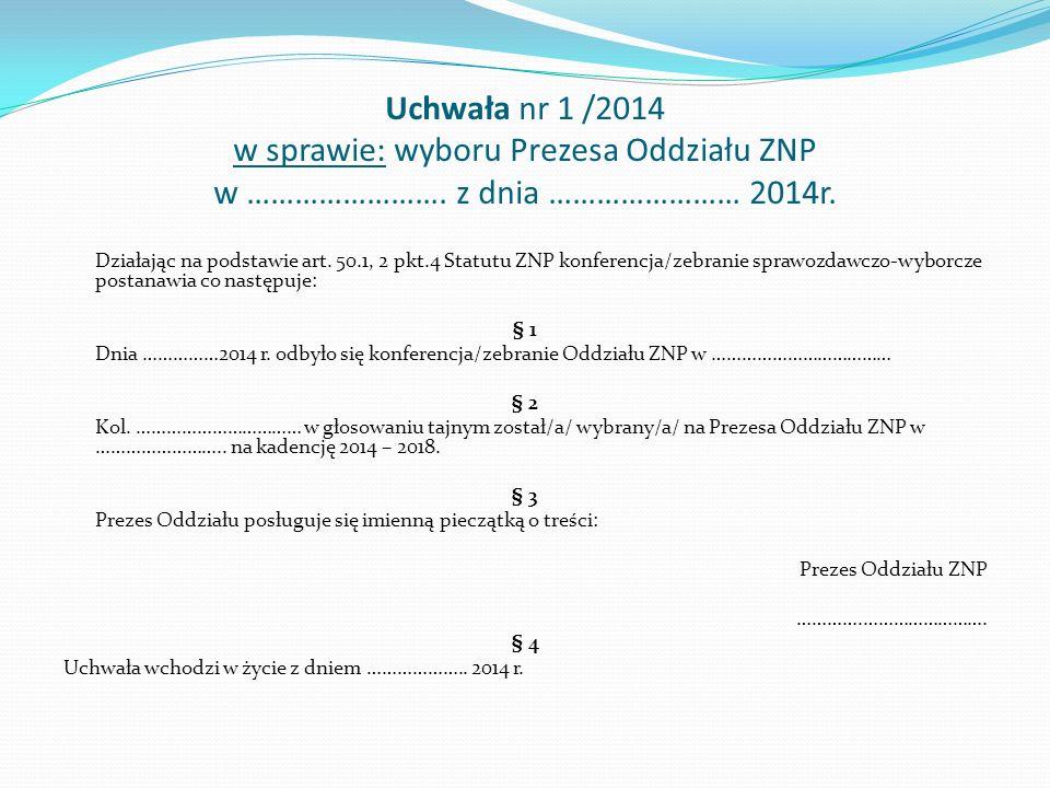 Uchwała nr 1 /2014 w sprawie: wyboru Prezesa Oddziału ZNP w …………………….