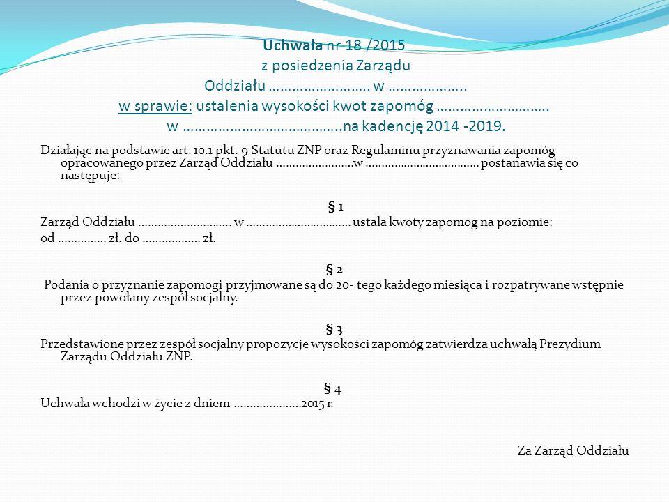 Uchwała nr 18 /2015 z posiedzenia Zarządu Oddziału ……………………..