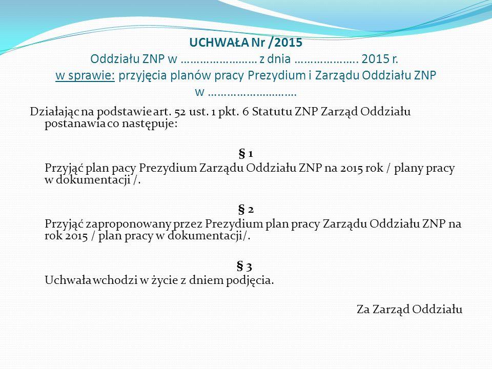 UCHWAŁA Nr /2015 Oddziału ZNP w …………………… z dnia ………………..
