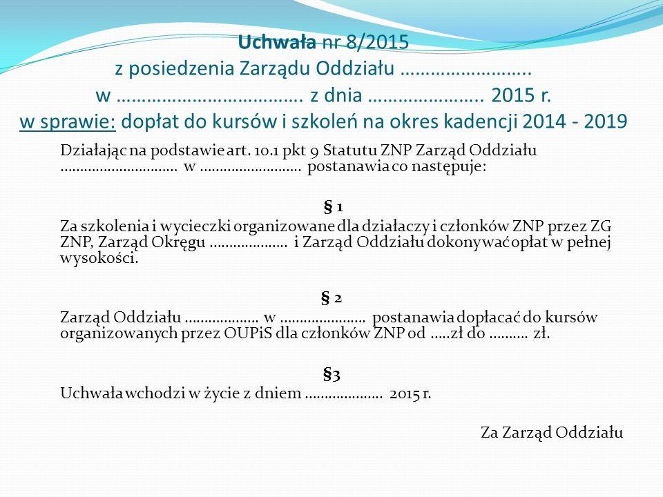 Uchwała nr 8/2015 z posiedzenia Zarządu Oddziału ……………………..