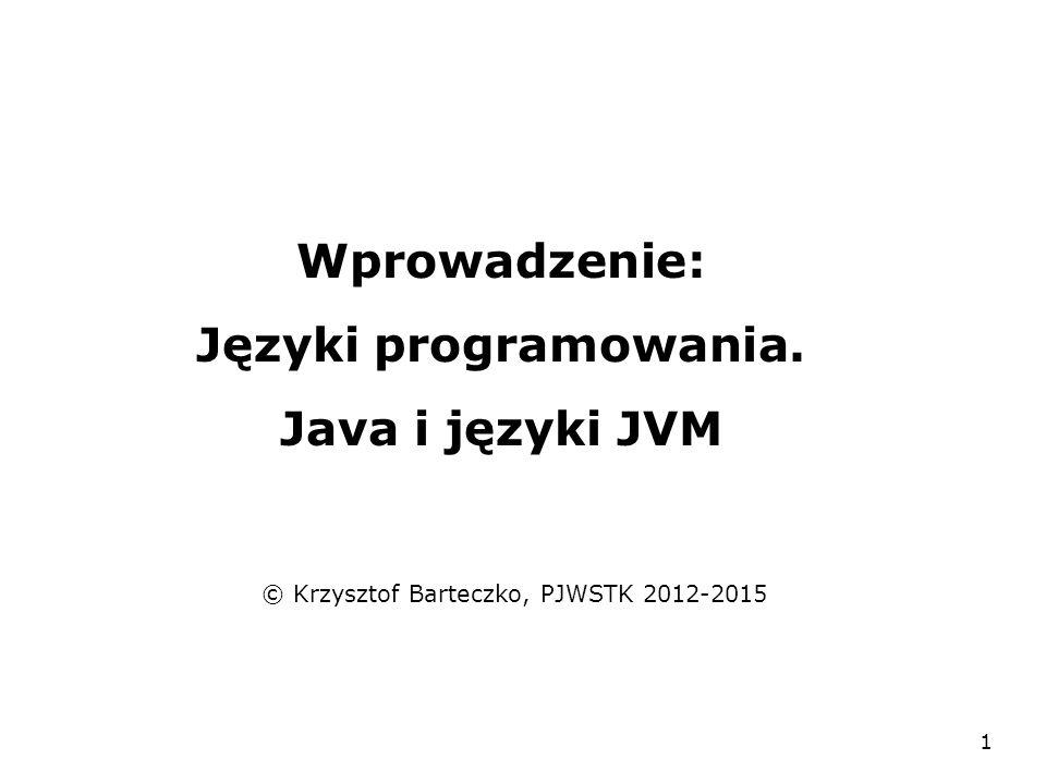 1 Wprowadzenie: Języki programowania. Java i języki JVM © Krzysztof Barteczko, PJWSTK 2012-2015