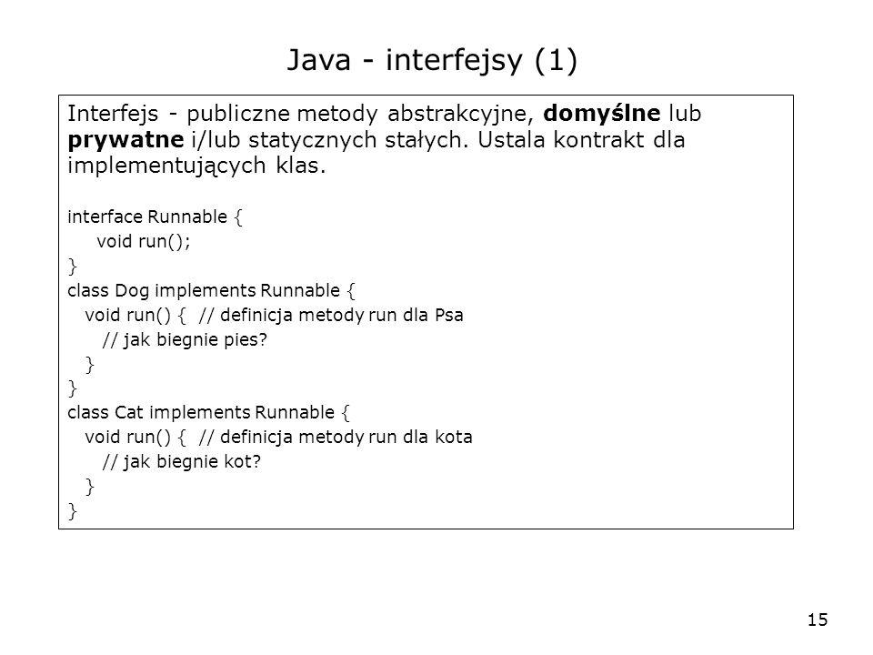 15 Java - interfejsy (1) Interfejs - publiczne metody abstrakcyjne, domyślne lub prywatne i/lub statycznych stałych. Ustala kontrakt dla implementując