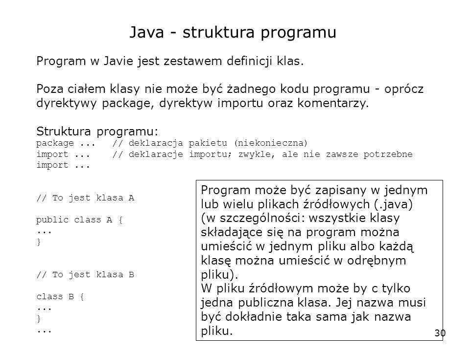 30 Java - struktura programu Program w Javie jest zestawem definicji klas. Poza ciałem klasy nie może być żadnego kodu programu - oprócz dyrektywy pac