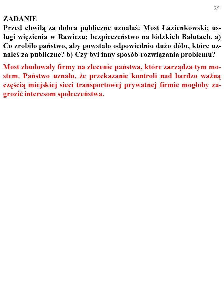 24 ZADANIE Przed chwilą za dobra publiczne uznałaś: Most Łazienkowski; us- ługi więzienia w Rawiczu; bezpieczeństwo na łódzkich Bałutach.