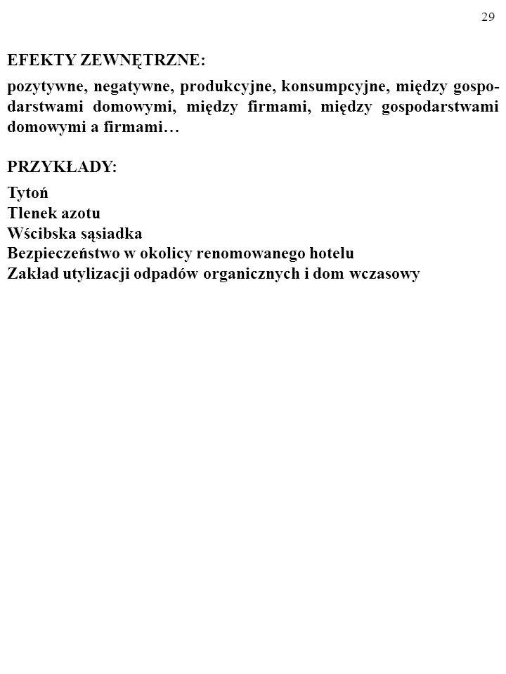 28 EFEKTY ZEWNĘTRZNE Formą zawodności rynku, z którą zmaga się państwo, są także EFEKTY ZEWNĘTRZNE (ang.
