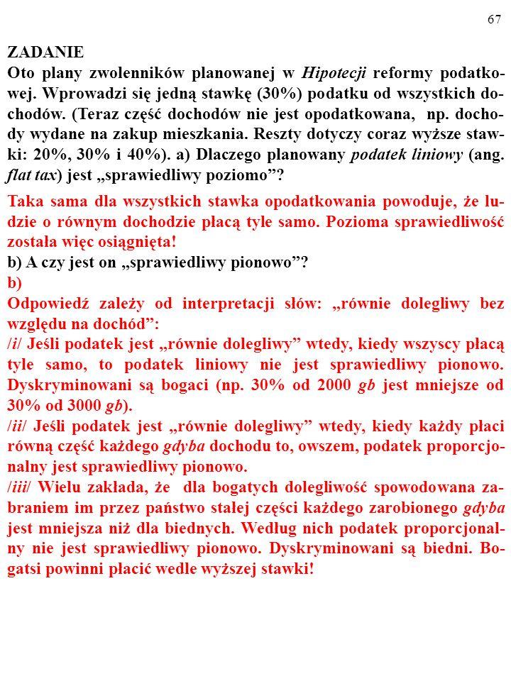 66 ZADANIE Oto plany zwolenników planowanej w Hipotecji reformy podatko- wej.