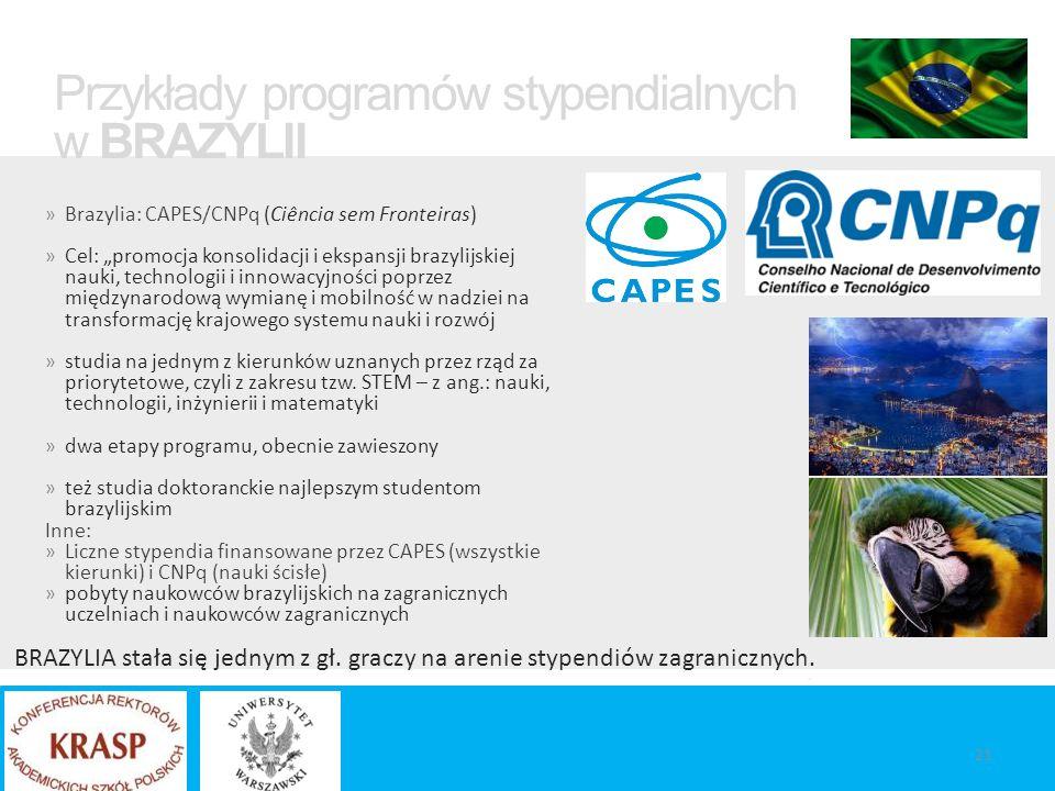 """» Brazylia: CAPES/CNPq (Ciência sem Fronteiras) » Cel: """"promocja konsolidacji i ekspansji brazylijskiej nauki, technologii i innowacyjności poprzez międzynarodową wymianę i mobilność w nadziei na transformację krajowego systemu nauki i rozwój » studia na jednym z kierunków uznanych przez rząd za priorytetowe, czyli z zakresu tzw."""