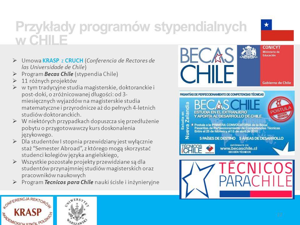 Umowa KRASP z CRUCH (Conferencia de Rectores de las Universidade de Chile)  Program Becas Chile (stypendia Chile)  11 różnych projektów  w tym tradycyjne studia magisterskie, doktoranckie i post-doki, o zróżnicowanej długości: od 3- miesięcznych wyjazdów na magisterskie studia matematyczne i przyrodnicze aż do pełnych 4-letnich studiów doktoranckich.