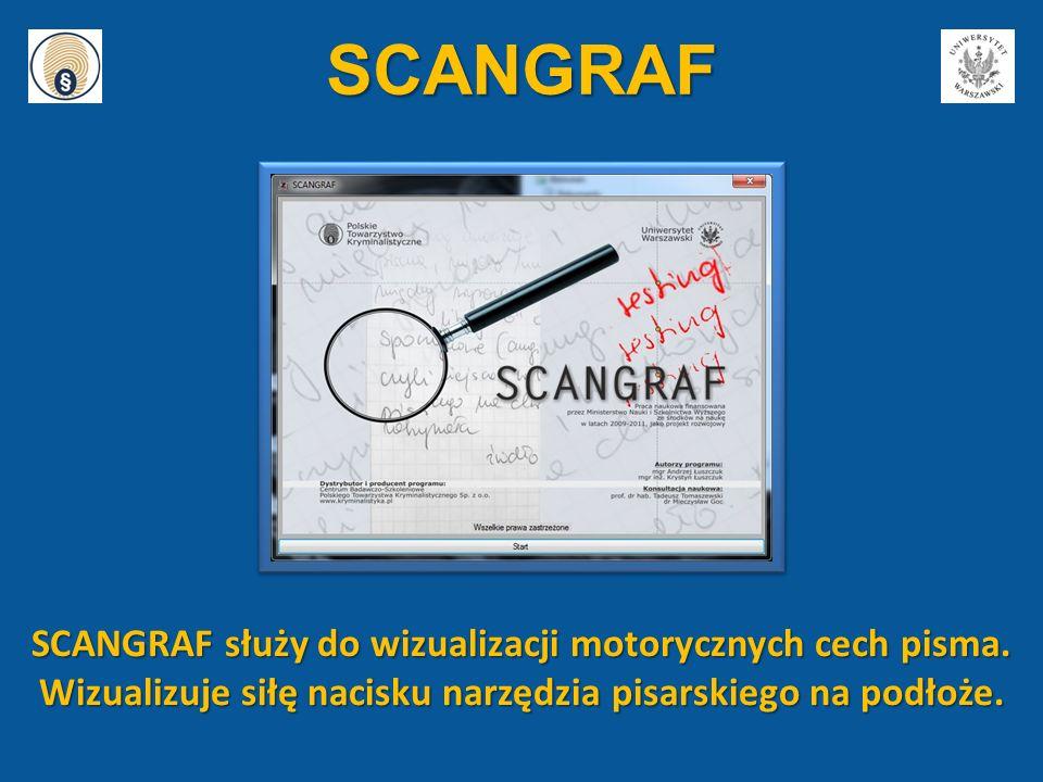 SCANGRAF SCANGRAF służy do wizualizacji motorycznych cech pisma. Wizualizuje siłę nacisku narzędzia pisarskiego na podłoże.