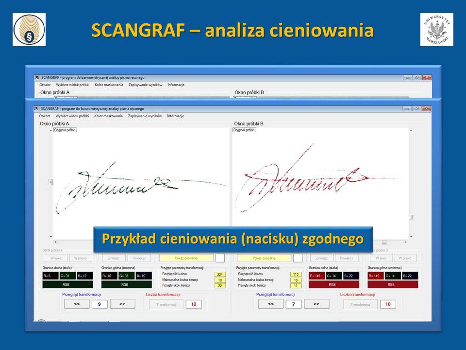 Przykład cieniowania (nacisku) zgodnego SCANGRAF – analiza cieniowania