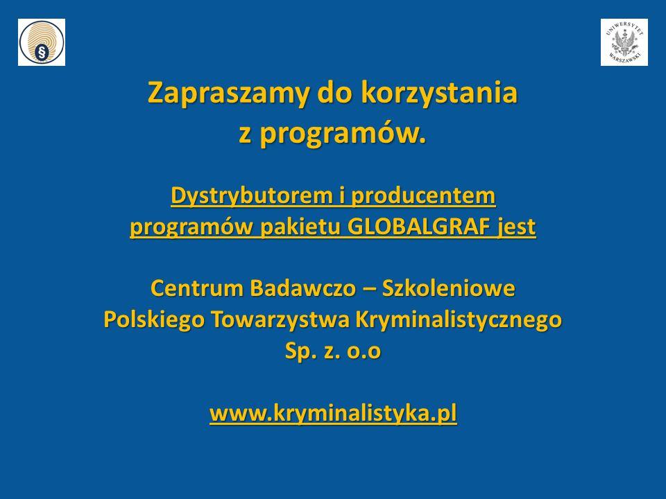 Dystrybutorem i producentem programów pakietu GLOBALGRAF jest Centrum Badawczo – Szkoleniowe Polskiego Towarzystwa Kryminalistycznego Sp. z. o.o www.k