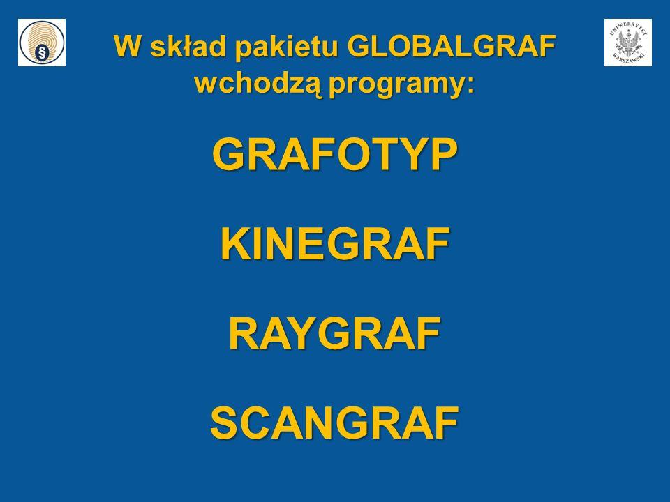 W skład pakietu GLOBALGRAF wchodzą programy: GRAFOTYP KINEGRAF RAYGRAF SCANGRAF