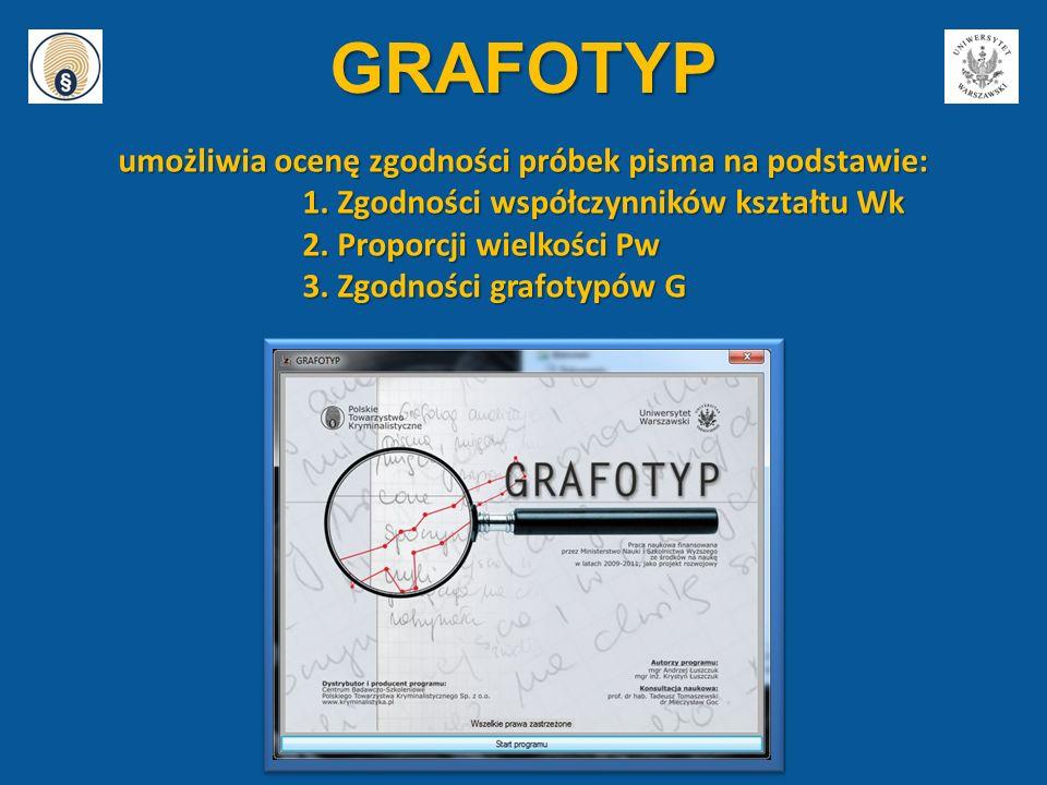 GRAFOTYP umożliwia ocenę zgodności próbek pisma na podstawie: 1. Zgodności współczynników kształtu Wk 2. Proporcji wielkości Pw 3. Zgodności grafotypó