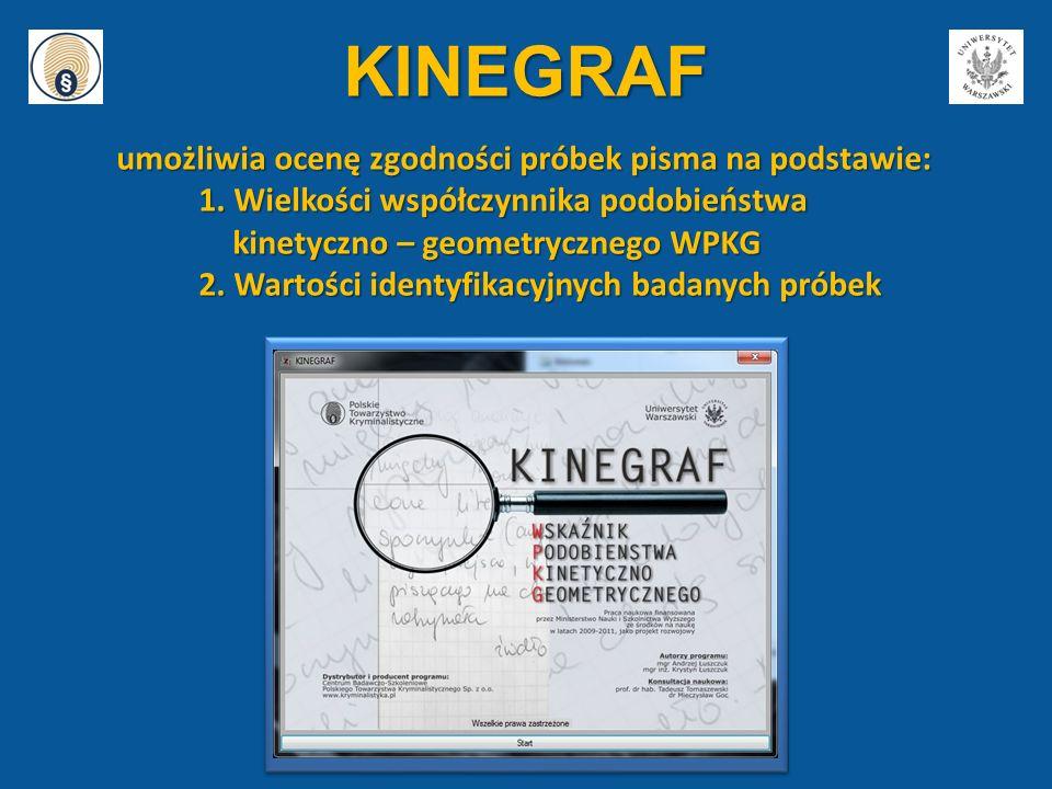 KINEGRAF umożliwia ocenę zgodności próbek pisma na podstawie: umożliwia ocenę zgodności próbek pisma na podstawie: 1. Wielkości współczynnika podobień