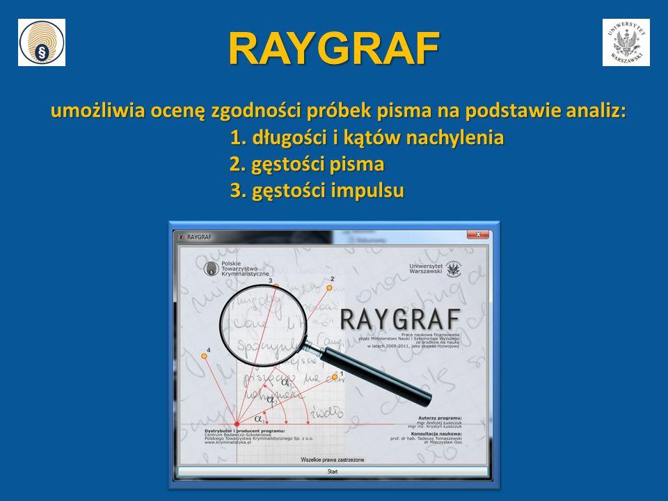 RAYGRAF umożliwia ocenę zgodności próbek pisma na podstawie analiz: umożliwia ocenę zgodności próbek pisma na podstawie analiz: 1. długości i kątów na