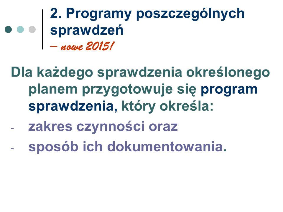 2. Programy poszczególnych sprawdzeń – nowe 2015.