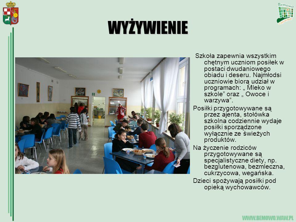 WYŻYWIENIE Szkoła zapewnia wszystkim chętnym uczniom posiłek w postaci dwudaniowego obiadu i deseru.