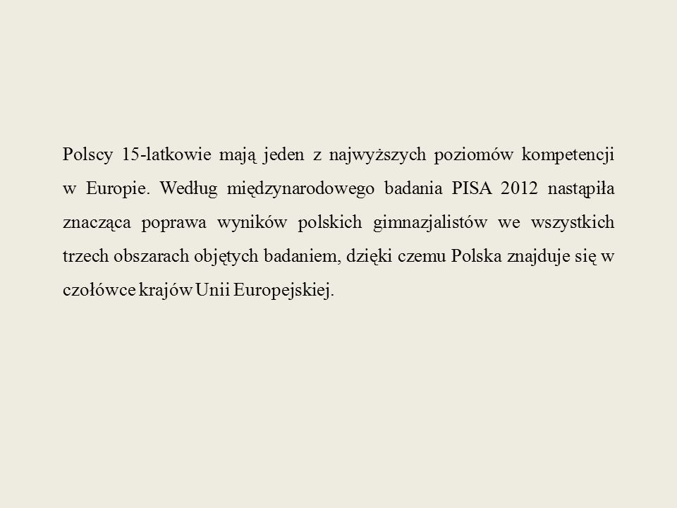 Polscy 15-latkowie mają jeden z najwyższych poziomów kompetencji w Europie. Według międzynarodowego badania PISA 2012 nastąpiła znacząca poprawa wynik