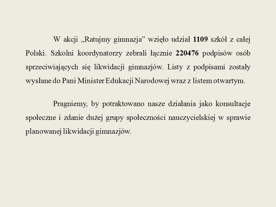 """W akcji """"Ratujmy gimnazja"""" wzięło udział 1109 szkół z całej Polski. Szkolni koordynatorzy zebrali łącznie 220476 podpisów osób sprzeciwiających się li"""