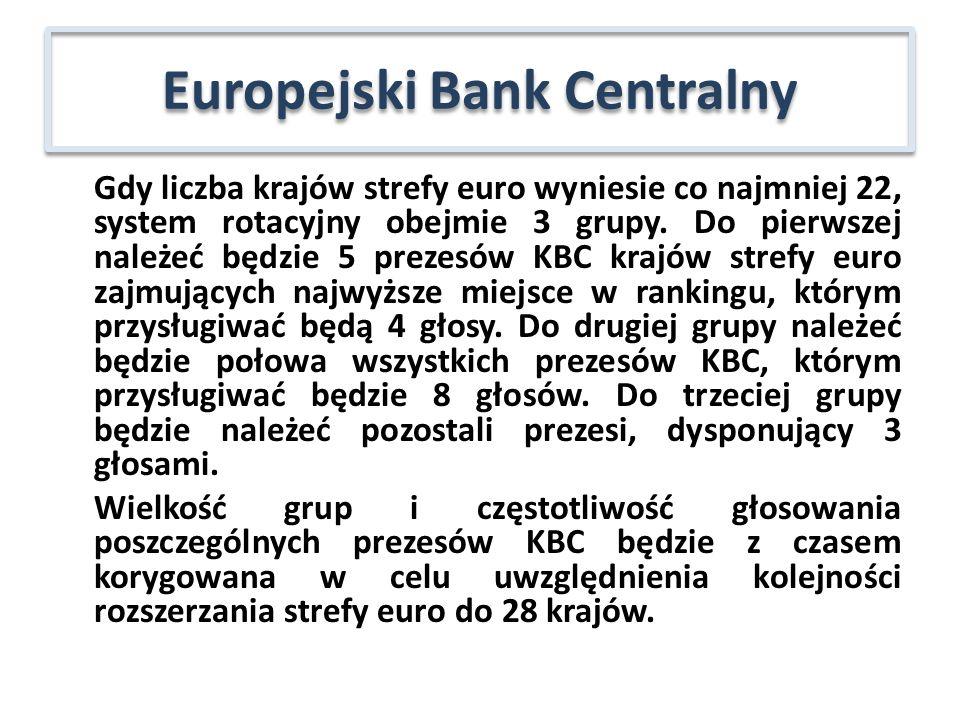 Gdy liczba krajów strefy euro wyniesie co najmniej 22, system rotacyjny obejmie 3 grupy. Do pierwszej należeć będzie 5 prezesów KBC krajów strefy euro