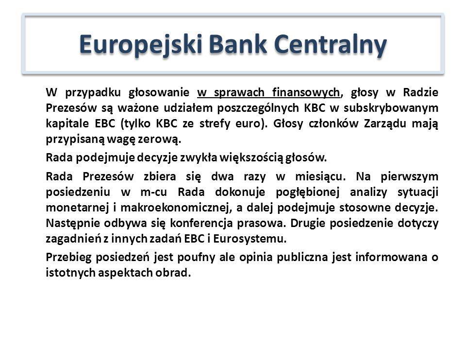 W przypadku głosowanie w sprawach finansowych, głosy w Radzie Prezesów są ważone udziałem poszczególnych KBC w subskrybowanym kapitale EBC (tylko KBC ze strefy euro).
