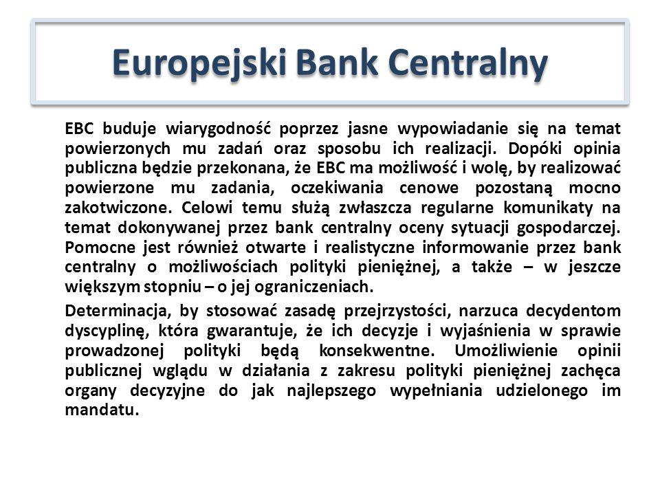 EBC buduje wiarygodność poprzez jasne wypowiadanie się na temat powierzonych mu zadań oraz sposobu ich realizacji. Dopóki opinia publiczna będzie prze