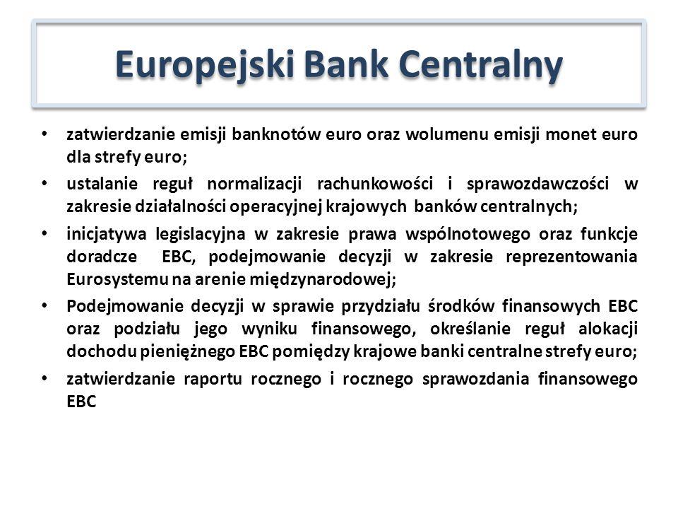 zatwierdzanie emisji banknotów euro oraz wolumenu emisji monet euro dla strefy euro; ustalanie reguł normalizacji rachunkowości i sprawozdawczości w z