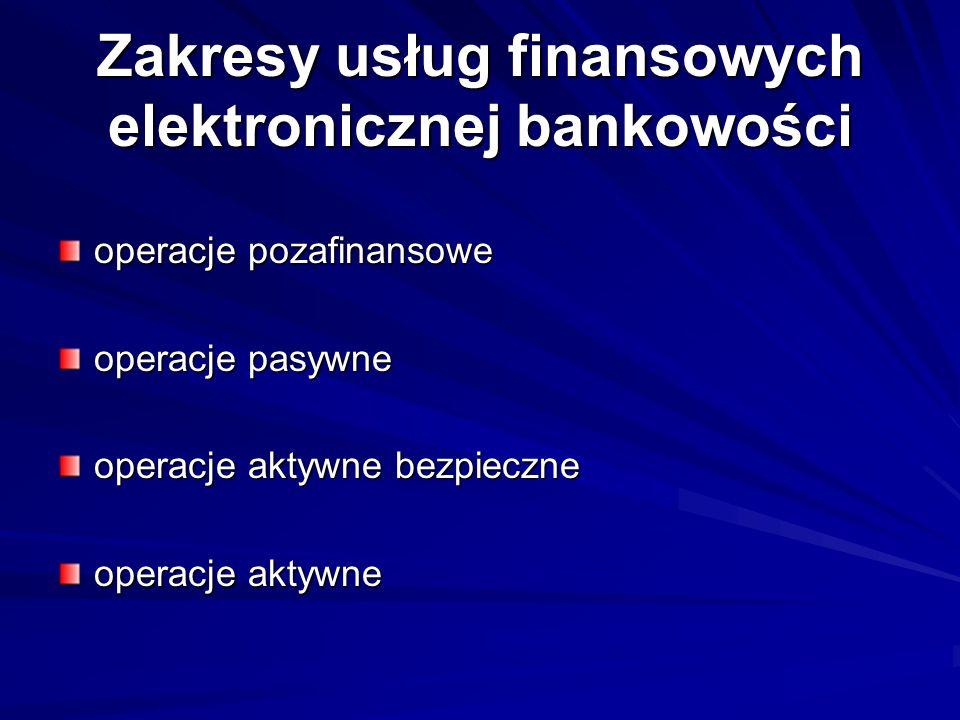 Zakresy usług finansowych elektronicznej bankowości operacje pozafinansowe operacje pasywne operacje aktywne bezpieczne operacje aktywne