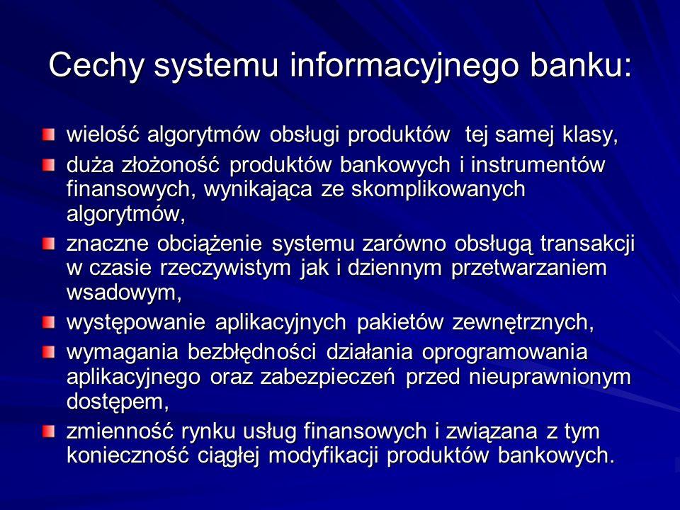 Cechy systemu informacyjnego banku: wielość algorytmów obsługi produktów tej samej klasy, duża złożoność produktów bankowych i instrumentów finansowych, wynikająca ze skomplikowanych algorytmów, znaczne obciążenie systemu zarówno obsługą transakcji w czasie rzeczywistym jak i dziennym przetwarzaniem wsadowym, występowanie aplikacyjnych pakietów zewnętrznych, wymagania bezbłędności działania oprogramowania aplikacyjnego oraz zabezpieczeń przed nieuprawnionym dostępem, zmienność rynku usług finansowych i związana z tym konieczność ciągłej modyfikacji produktów bankowych.