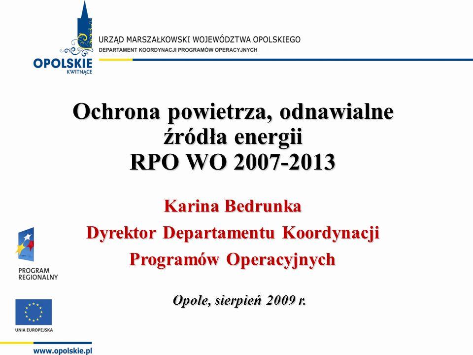 Zakres prezentacji działania 4.3 Ochrona powietrza, odnawialne źródła energii w ramach 1.Możliwości wsparcia działania 4.3 Ochrona powietrza, odnawialne źródła energii w ramach RPO WO 2007- 2013.