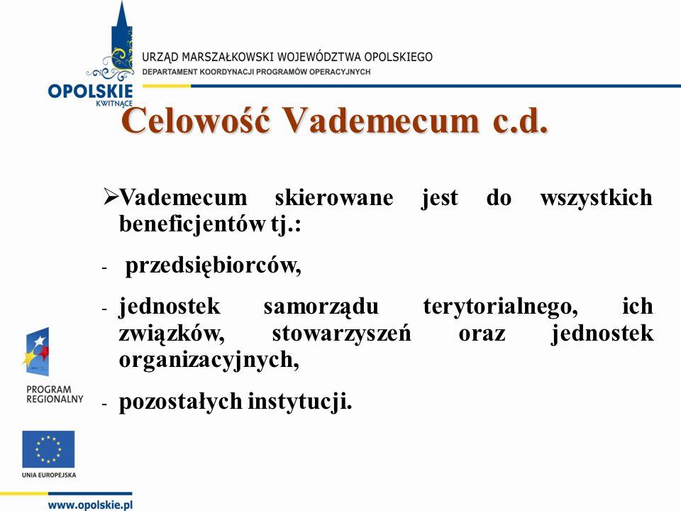  Vademecum skierowane jest do wszystkich beneficjentów tj.: - przedsiębiorców, - jednostek samorządu terytorialnego, ich związków, stowarzyszeń oraz jednostek organizacyjnych, - pozostałych instytucji.