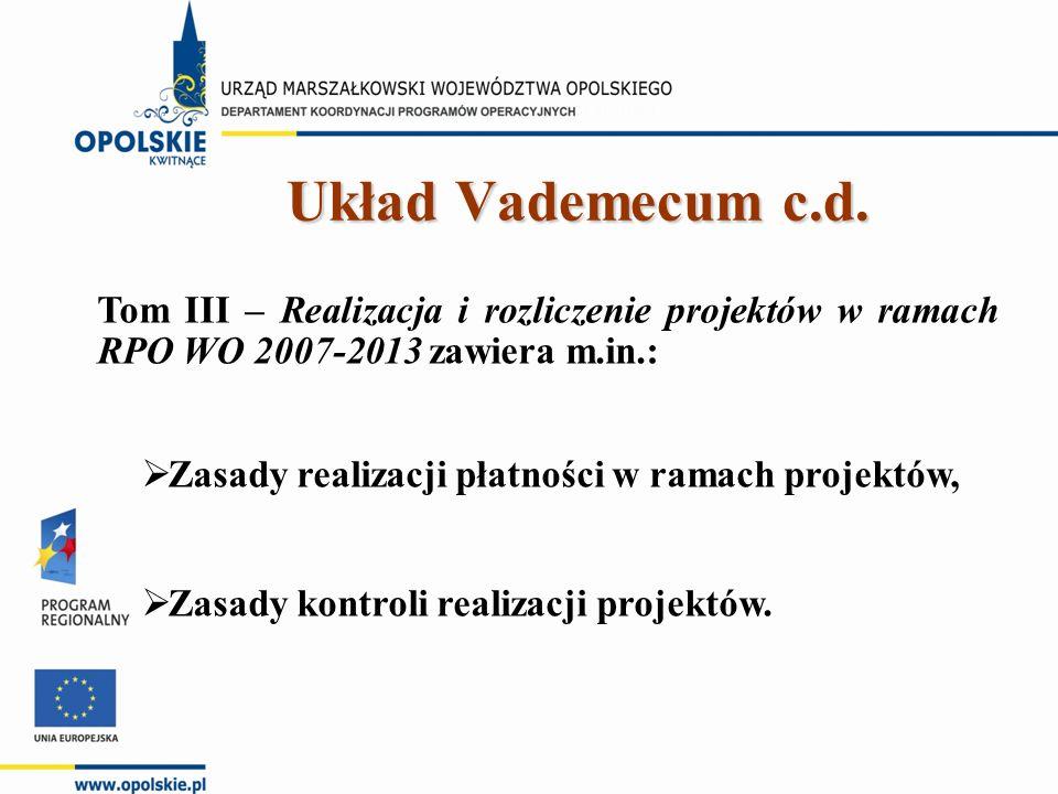 Tom III – Realizacja i rozliczenie projektów w ramach RPO WO 2007-2013 zawiera m.in.:  Zasady realizacji płatności w ramach projektów,  Zasady kontroli realizacji projektów.