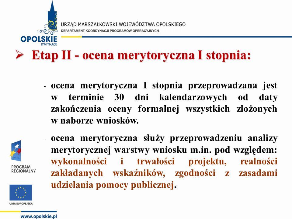  Etap II - ocena merytoryczna I stopnia: - ocena merytoryczna I stopnia przeprowadzana jest w terminie 30 dni kalendarzowych od daty zakończenia oceny formalnej wszystkich złożonych w naborze wniosków.