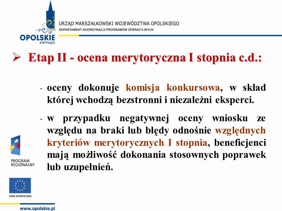  Etap II - ocena merytoryczna I stopnia c.d.: - oceny dokonuje komisja konkursowa, w skład której wchodzą bezstronni i niezależni eksperci.