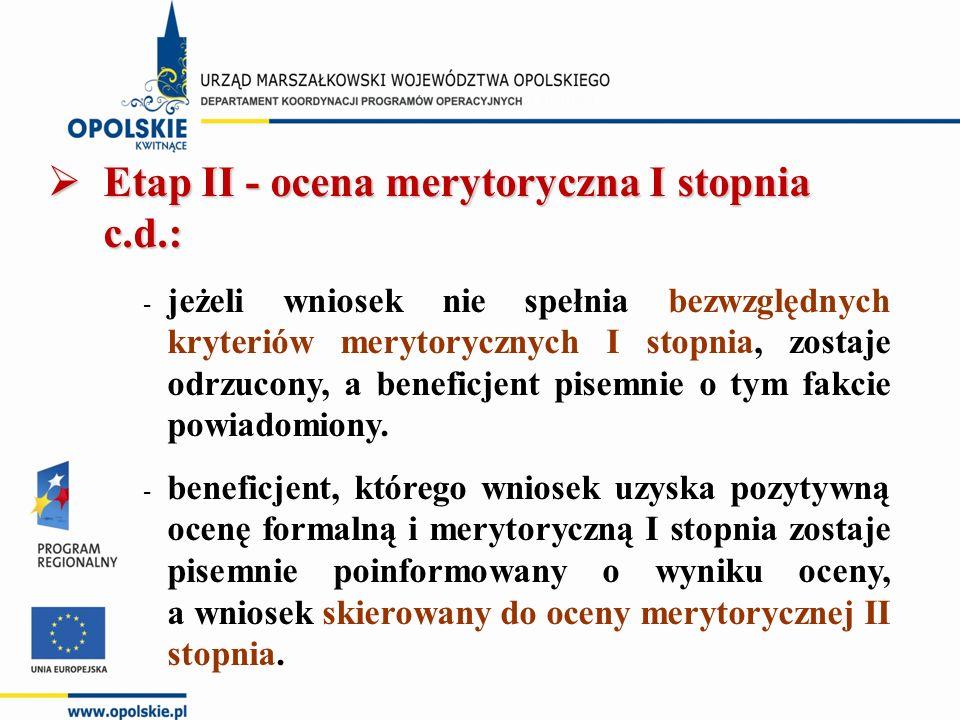  Etap II - ocena merytoryczna I stopnia c.d.: - jeżeli wniosek nie spełnia bezwzględnych kryteriów merytorycznych I stopnia, zostaje odrzucony, a beneficjent pisemnie o tym fakcie powiadomiony.
