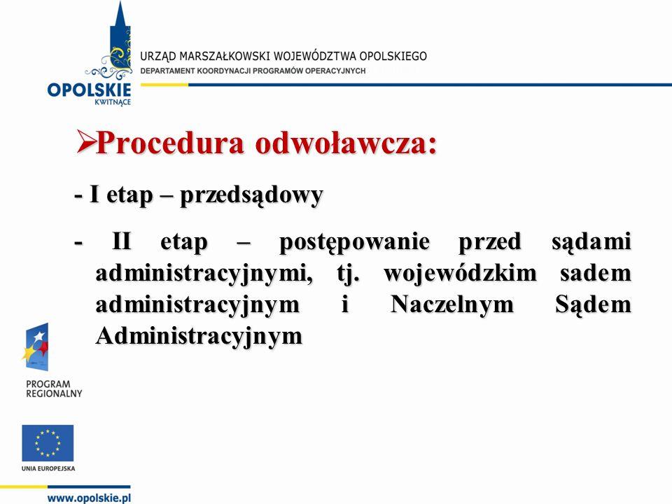  Procedura odwoławcza: - I etap – przedsądowy - II etap – postępowanie przed sądami administracyjnymi, tj.
