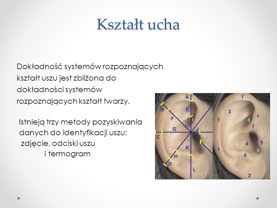 Kształt ucha Dokładność systemów rozpoznających kształt uszu jest zbliżona do dokładności systemów rozpoznających kształt twarzy.