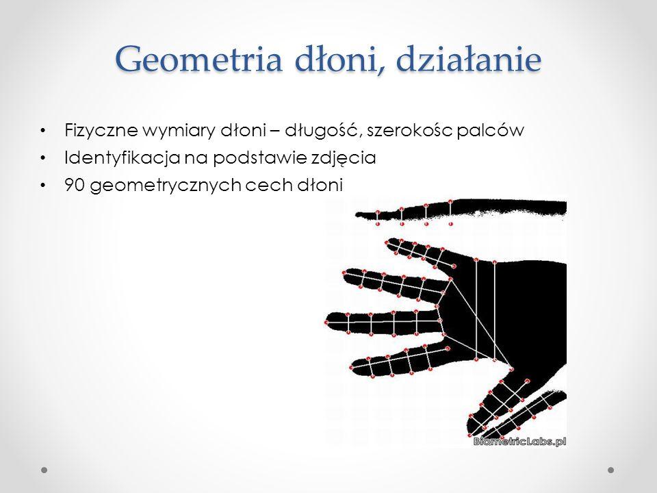 Geometria dłoni, działanie Fizyczne wymiary dłoni – długość, szerokośc palców Identyfikacja na podstawie zdjęcia 90 geometrycznych cech dłoni