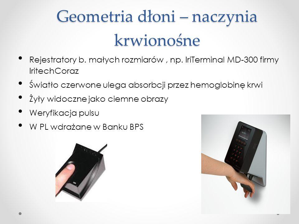 Geometria dłoni – naczynia krwionośne Rejestratory b.
