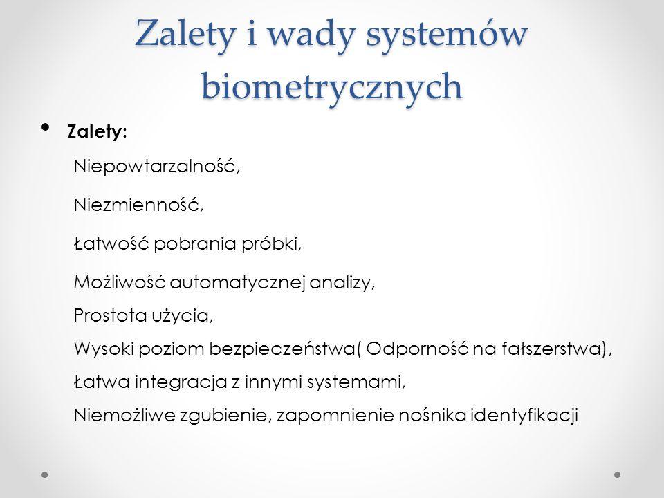 Zalety i wady systemów biometrycznych Zalety: Niepowtarzalność, Niezmienność, Łatwość pobrania próbki, Możliwość automatycznej analizy, Prostota użycia, Wysoki poziom bezpieczeństwa( Odporność na fałszerstwa), Łatwa integracja z innymi systemami, Niemożliwe zgubienie, zapomnienie nośnika identyfikacji