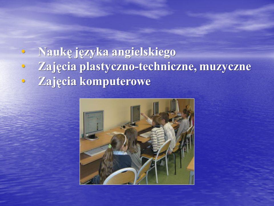 Naukę języka angielskiego Naukę języka angielskiego Zajęcia plastyczno-techniczne, muzyczne Zajęcia plastyczno-techniczne, muzyczne Zajęcia komputerowe Zajęcia komputerowe