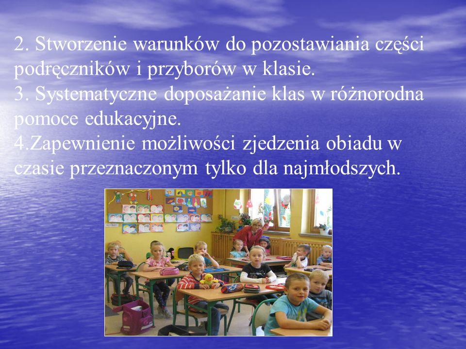2. Stworzenie warunków do pozostawiania części podręczników i przyborów w klasie.
