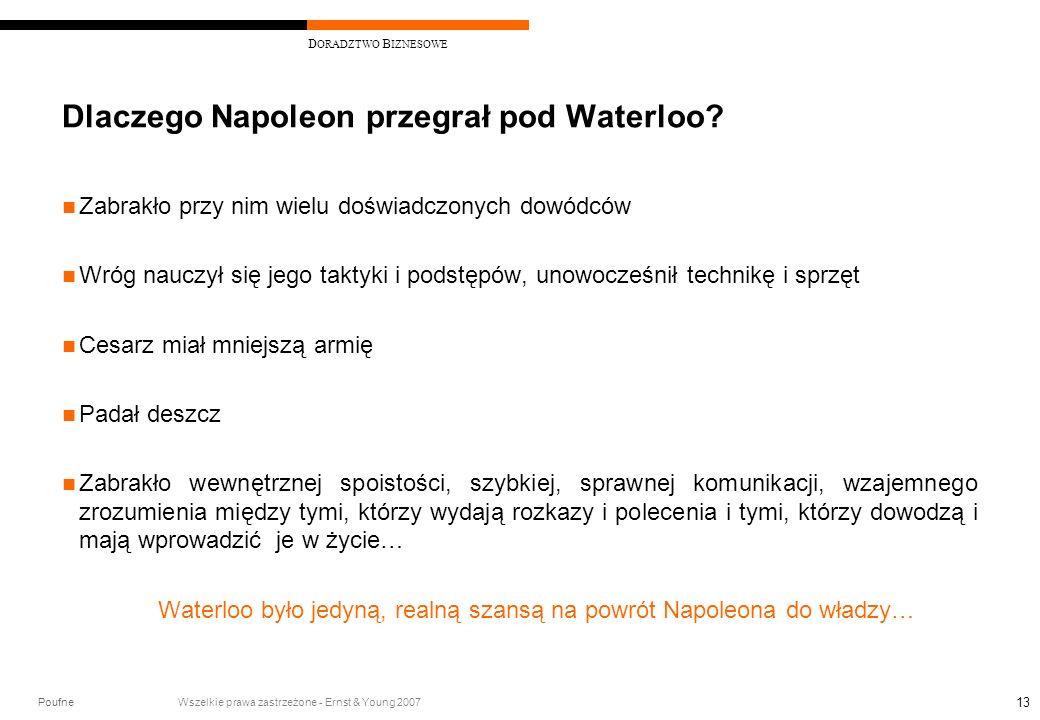 Poufne Wszelkie prawa zastrzeżone - Ernst & Young 2007 D ORADZTWO B IZNESOWE 13 Dlaczego Napoleon przegrał pod Waterloo? Zabrakło przy nim wielu doświ