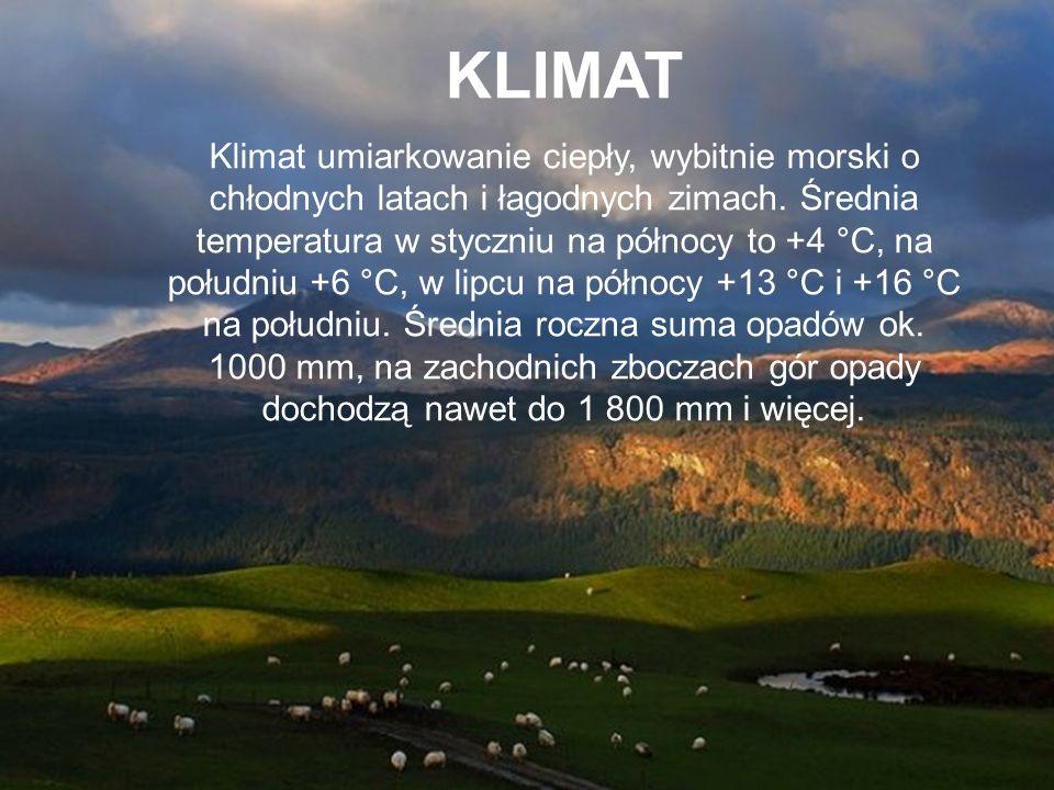 KLIMAT Klimat umiarkowanie ciepły, wybitnie morski o chłodnych latach i łagodnych zimach. Średnia temperatura w styczniu na północy to +4 °C, na połud