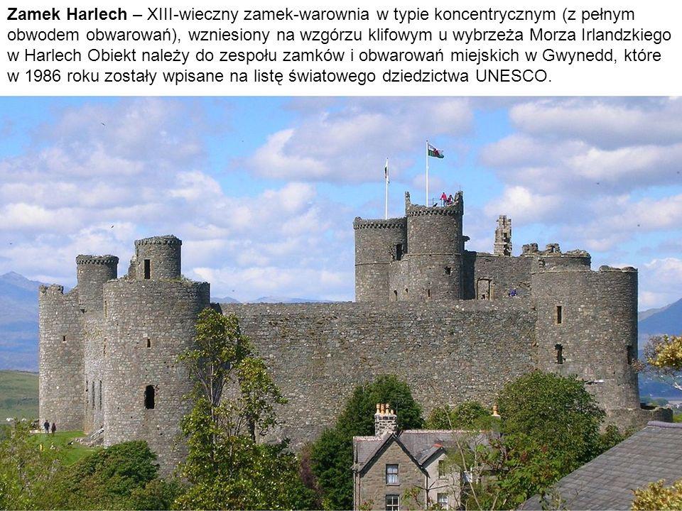 Zamek Harlech – XIII-wieczny zamek-warownia w typie koncentrycznym (z pełnym obwodem obwarowań), wzniesiony na wzgórzu klifowym u wybrzeża Morza Irlan