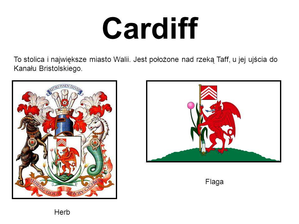 Cardiff To stolica i największe miasto Walii. Jest położone nad rzeką Taff, u jej ujścia do Kanału Bristolskiego. Herb Flaga